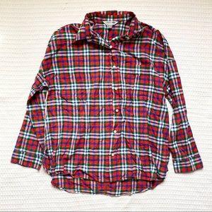 Old Navy the boyfriend shirt red multi plaid XL